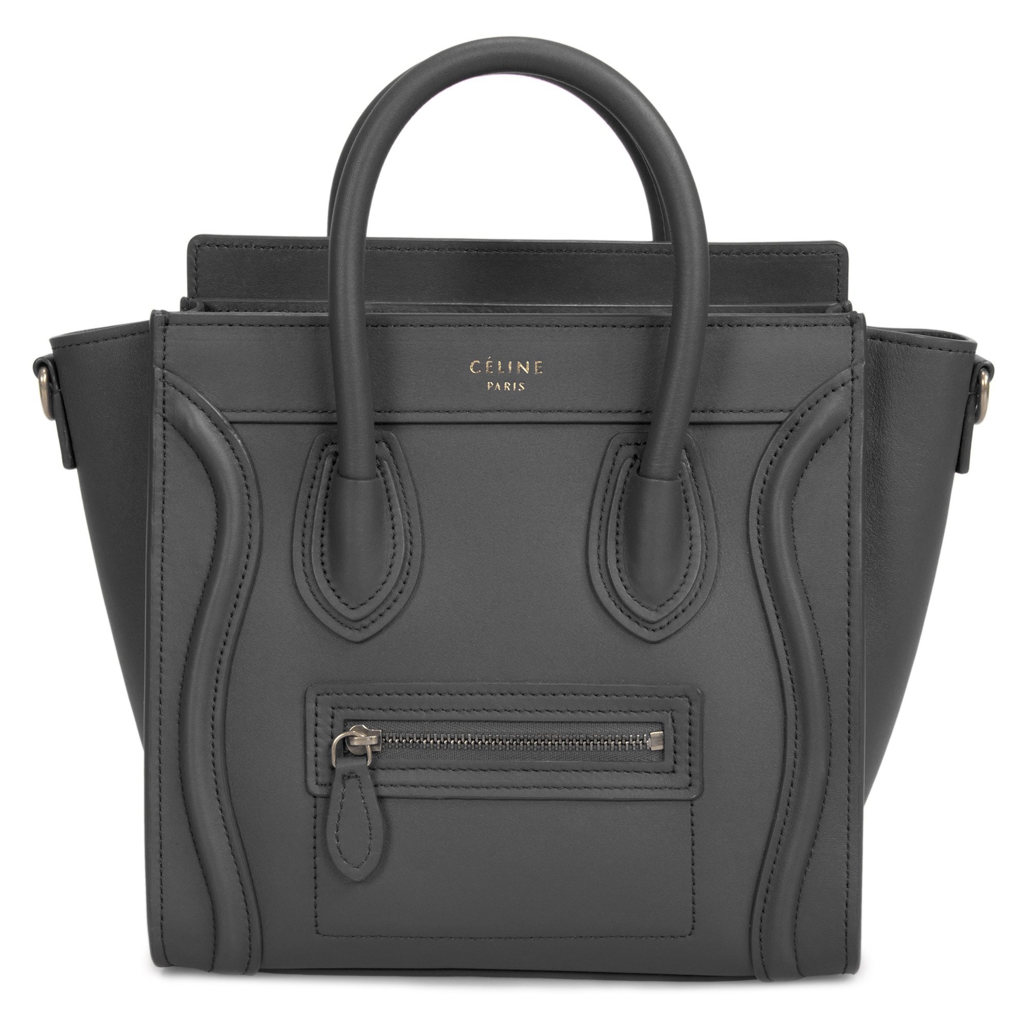 Celine Nano Luggage Bag In Smooth Black Calfskin Leather by Celine