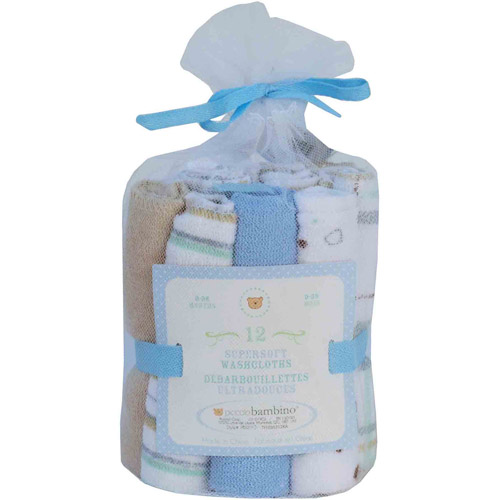 Piccolo Bambino Essential Washcloths, 12pk, Blue