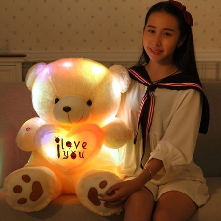 Directer Cute Lovely I Love You Pattern Glow Light Up Soft Plush Bear Stuffed Toy - Cool Glow In The Dark Stuff