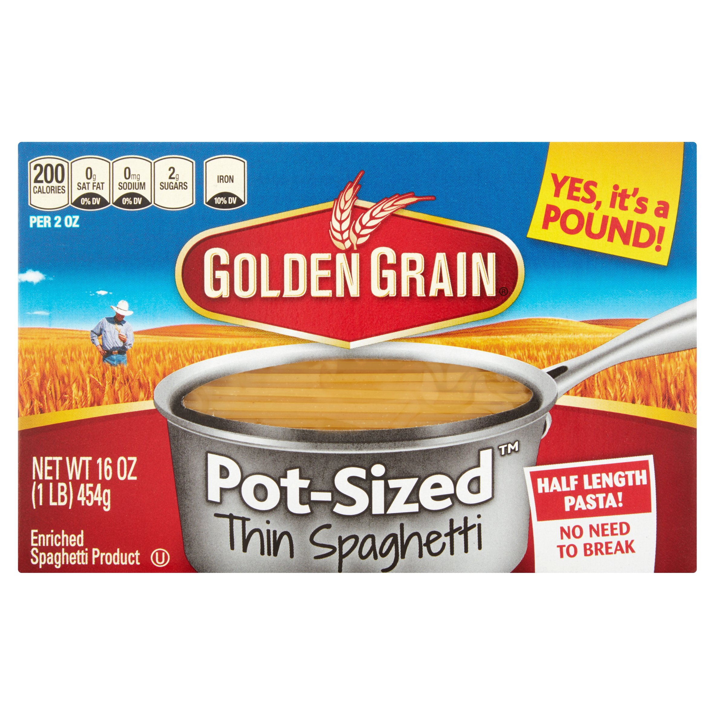 Golden Grain Pot-Sized Thin Spaghetti Pasta, 16 oz