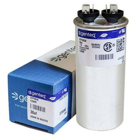 30 uF MFD x 370 VAC Round Genteq / GE Industrial Replacement Capacitor # C330R /