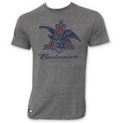 Budweiser Men's Gray Pop Top Bottle Opener Vintage Eagle Logo T-Shirt-Medium