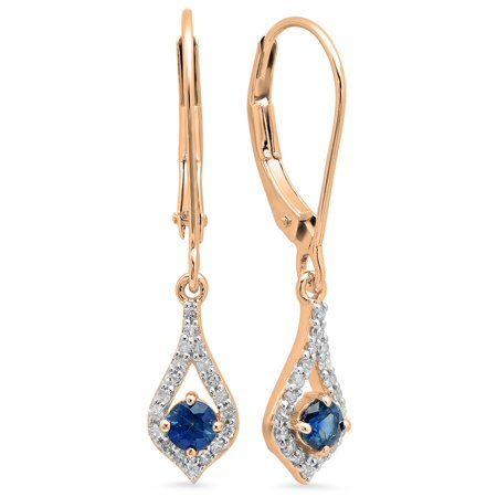 0.50 Carat (ctw) 10K Rose Gold Round Blue Sapphire & White Diamond Ladies Dangling Drop Earrings 1/2 - Gold Sapphire Diamond Drop