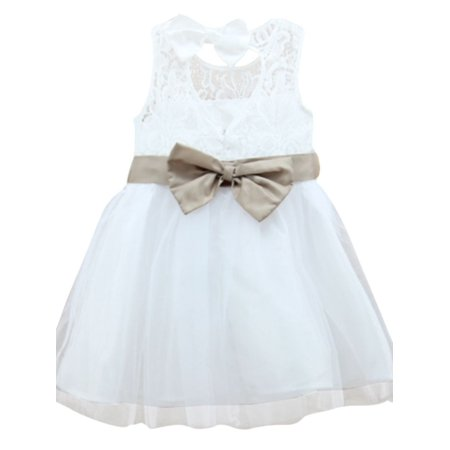 Baby Party Dresses Clearance (Toddler Baby Girls Princess Party Bow-knot Tulle White Formal Dresses)