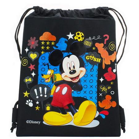 Black Velvet Drawstring Bag (Mickey Mouse