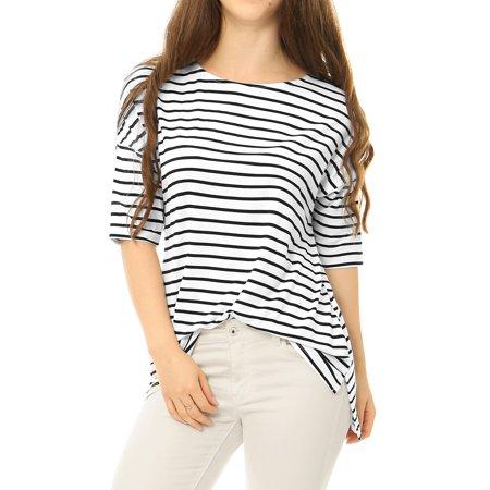 Stripe Tunic Top Shirt - Women Half Sleeves High Low Hem Loose Striped Tunic Tee