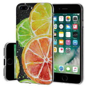 iPhone 7 Plus Case, Soft Gel Clear TPU Back Case Impact Defender Skin Cover for iPhone 7 Plus - Modern Citrus Print