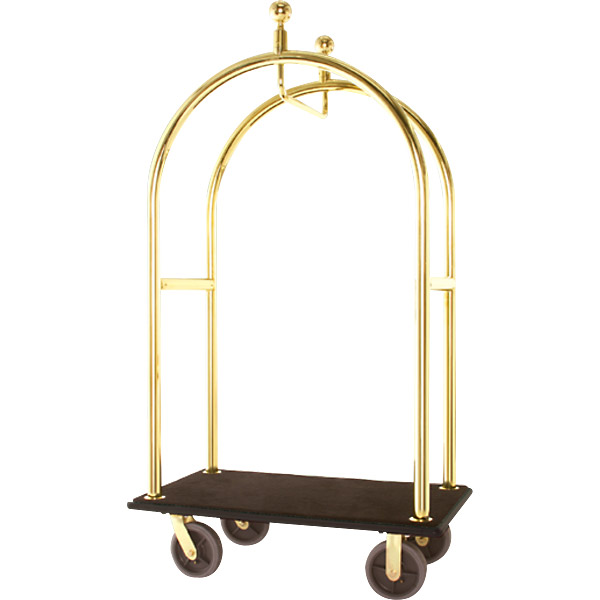 "Bellman's Cart - Mark V - Without Pneumatic Wheels - Maroon - Satin Stainless Steel - 48"" Deck Length"