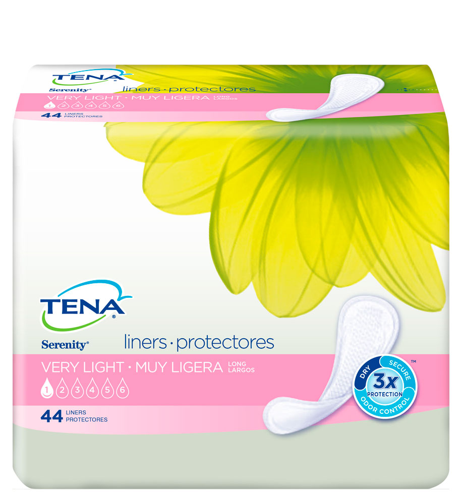 Tena Incontinence Liners, Long, 44 Ct