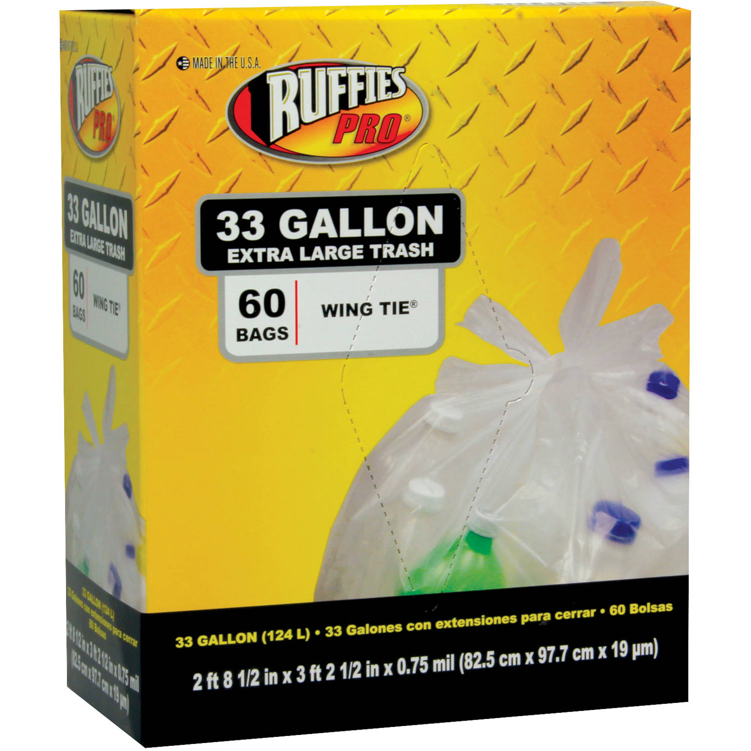 Ruffies Pro Extra Large Wing Tie Clear Trash Bags, 33 gal, 60 count
