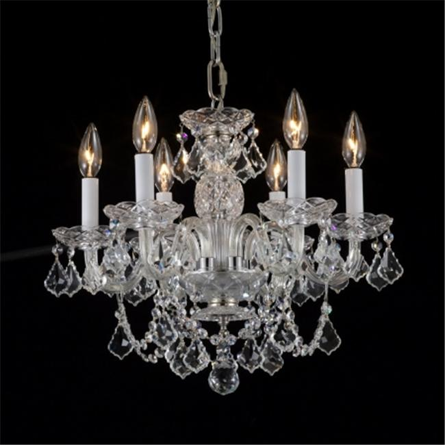 6 Light Crystal Chandelier - Chrome- 48-126-6HC