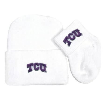 Texas Christian TCU Horned Frog Newborn Knit Cap and Socks Baby Gift Set ()