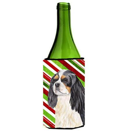 Cavalier Spaniel Candy Cane Holiday Christmas Wine bottle sleeve Hugger - 24 oz. - image 1 de 1