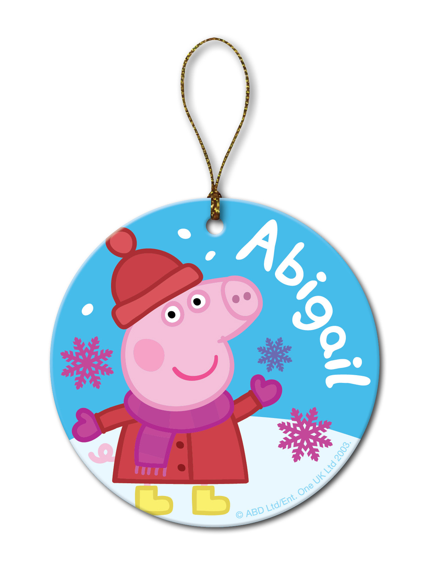 PRINCESS PEPPA PIG PERSONALIZED NAME 2020 METAL CHRISTMAS ORNAMENT GIFT TAG