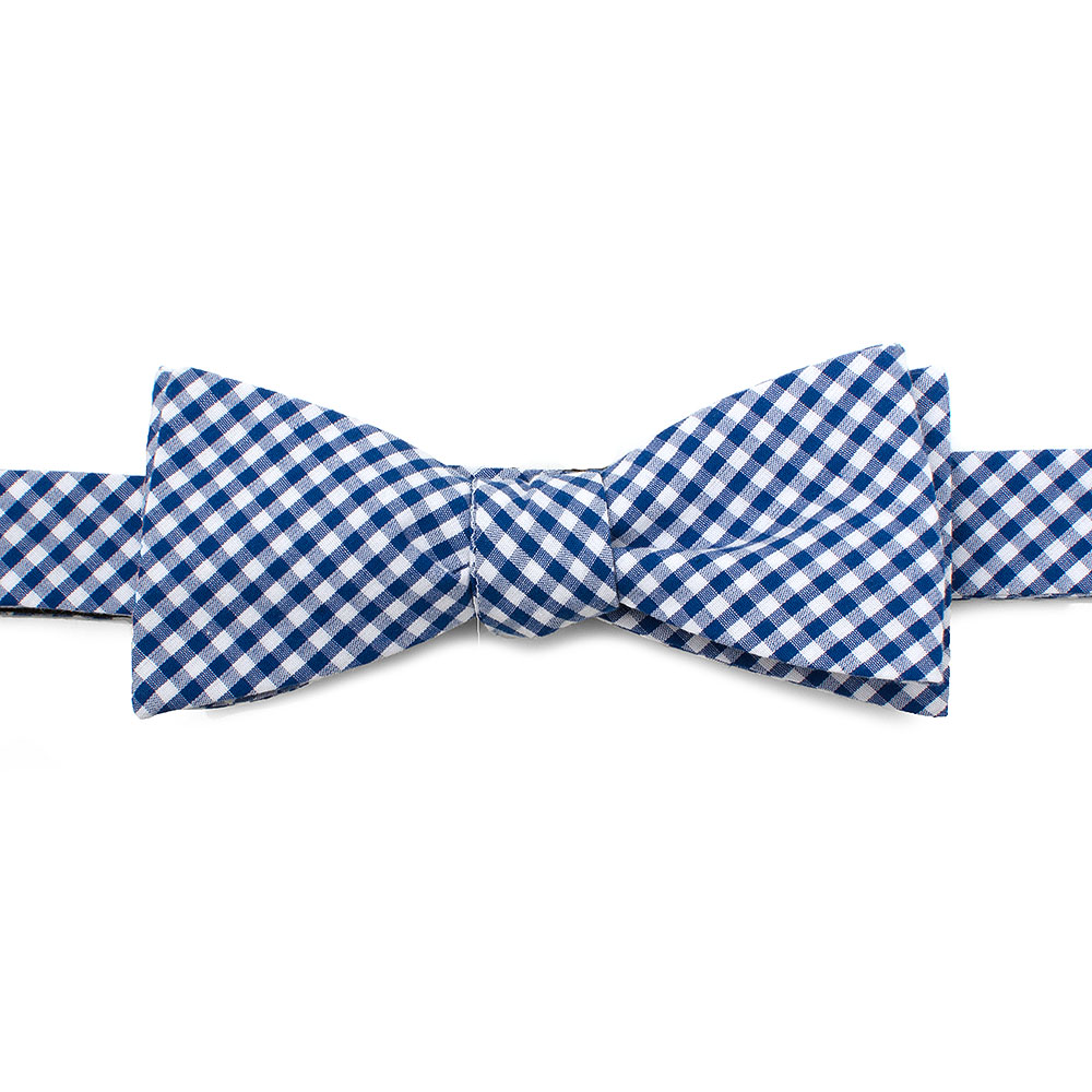 Ox and Bull Trading Co Mens Blue Gingham Cotton Bow Tie Wedding Formal Tuxedo