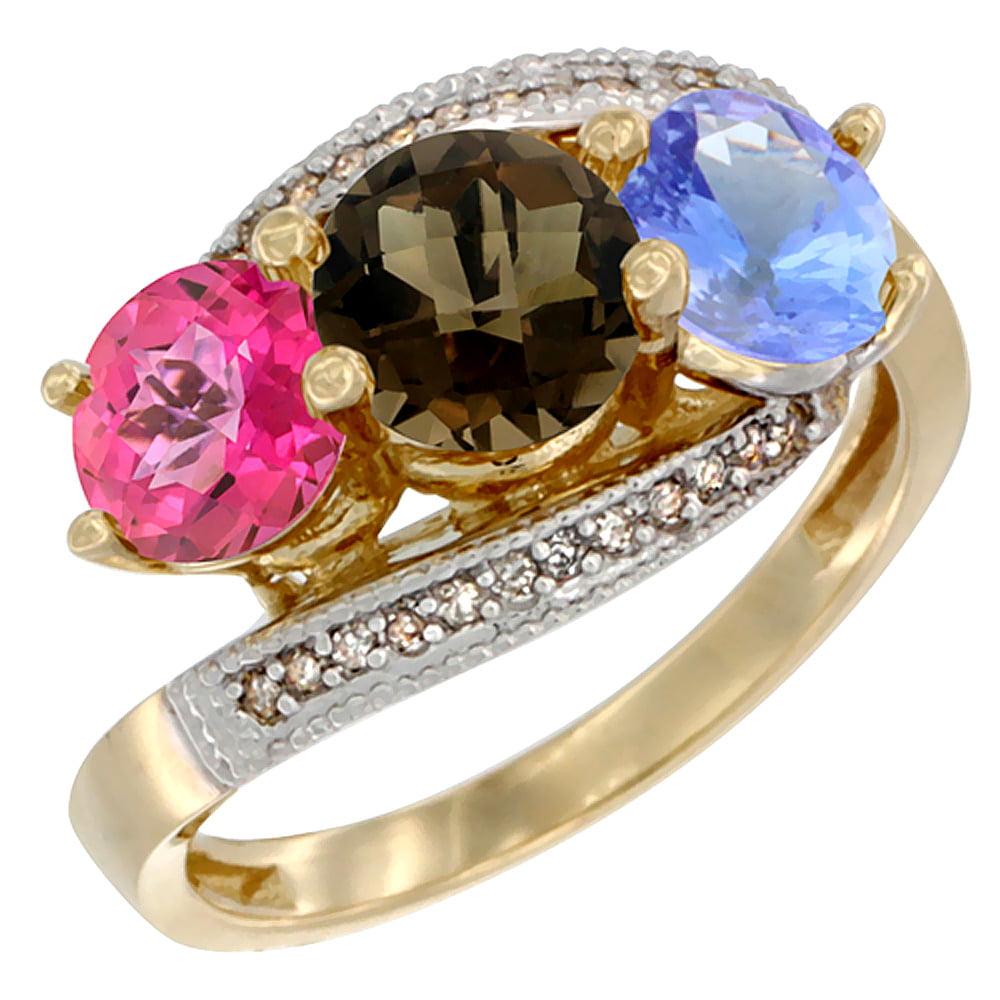 14K Yellow Gold Natural Pink Topaz, Smoky Topaz & Tanzanite 3 stone Ring Round 6mm Diamond Accent, size 6.5 by Gabriella Gold