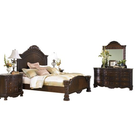 Ashley Furniture North Shore 6 PC Bedroom Set: E King Panel Bed Dresser Mirror 2 Nightstand Chest Dark