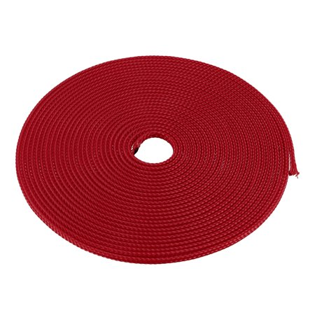 3mm Dia Tight Braided PET Expandable Sleeving Cable Wire Wrap Sheath Red 5M