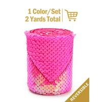 "LaRibbons 3"" Reversible Sequin Ribbon Fabric Sewing DIY Hair Bow for Easter,Spring,Princess Birthday Fancy Craft - Iridescence Persian Pink/Matte Persian Pink"