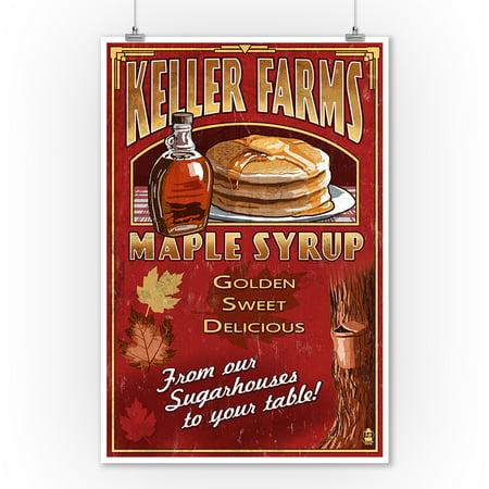 Maple Syrup Farm - Vintage Sign - Lantern Press Poster (9x12 Art Print, Wall Decor Travel - Maples Farm Halloween