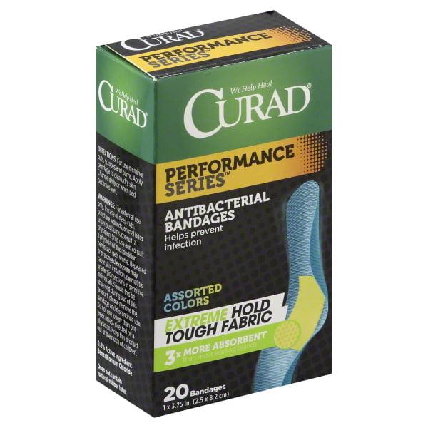 Curad Performance Series Colored Antibacterial Fabric Bandages 20CT