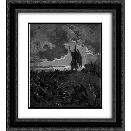 Gustave Dore 2x Matted 20x24 Black Ornate Framed Art Print 'They heard, and were abashed, and up they sprung'