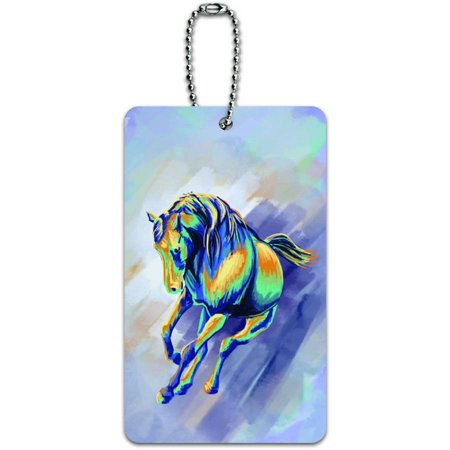 Horse Running Abstract Painterly Expressionism ID Tag Luggage Card for Suitcase or Carry-On