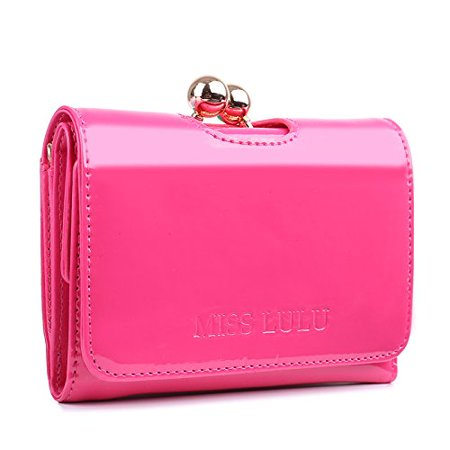 Miss Lulu Womens Patent Leather Small Ball Clasp Matinee Purse Wallet - Womens Small Wallet