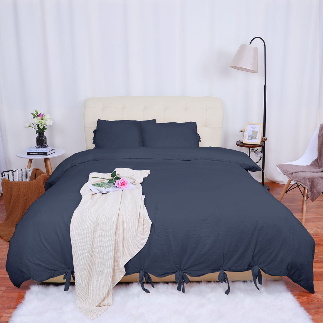 Washed Cotton Bedding Comforter Duvet Cover Pillowcase Set Navy Blue Queen Walmart Com Walmart Com