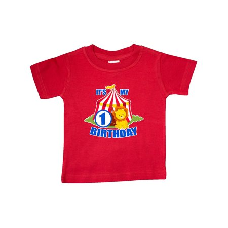 Its My Birthday Circus Tent With Lion 1 Year Old Baby T Shirt
