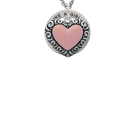 Silvertone Large Pink Enamel Heart with Swirl Border Run Like A Girl Affirmation Ring Necklace (Girl Swirl)
