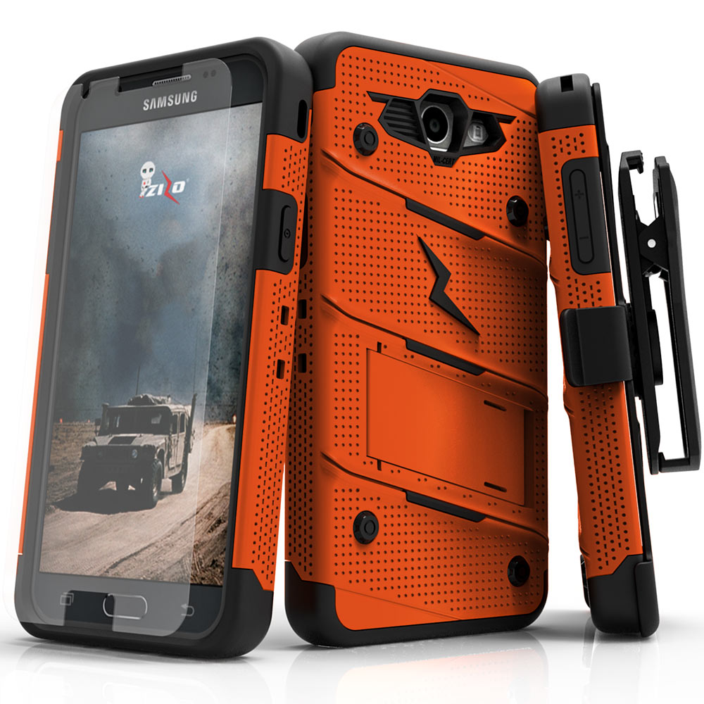 Zizo BOLT Series compatible with Samsung Galaxy J7 Prime Case Military Grade Drop Tested with Tempered Glass Screen protector, Holster