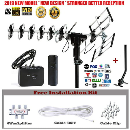 Five Star Outdoor HD TV Antenna 2019 Newest Model Up To 200 Mile Range with Motorized 360 Degree Rotation, UHF/VHF/FM Radio with Infrared Remote Control Advanced Design With Installation Kit and