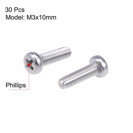M3x10mm Machine Screws Pan Phillips Cross Head Screw 304 Stainless Steel Fasteners Bolts 30Pcs - image 2 of 3