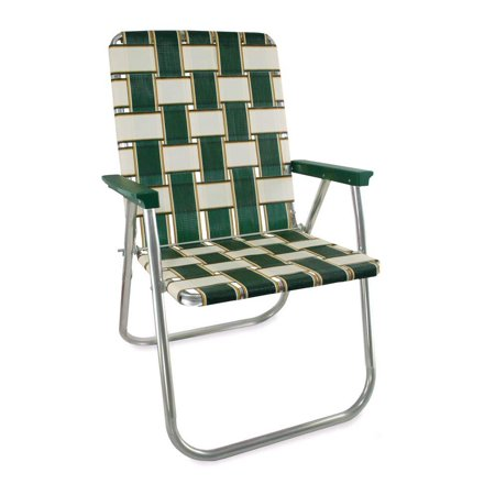 Aluminum Webbed Chair (Charleston Pattern with Green Arms) ()