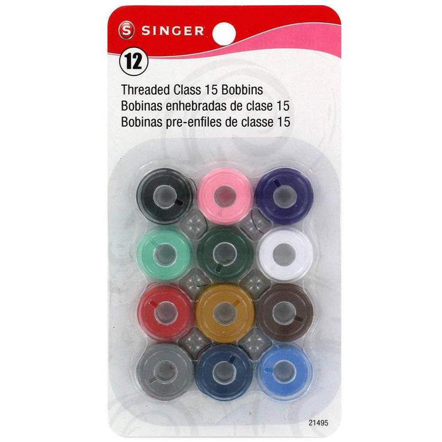 Singer Transparent Plastic Class 15 Bobbins Prewound In Assorted Colors