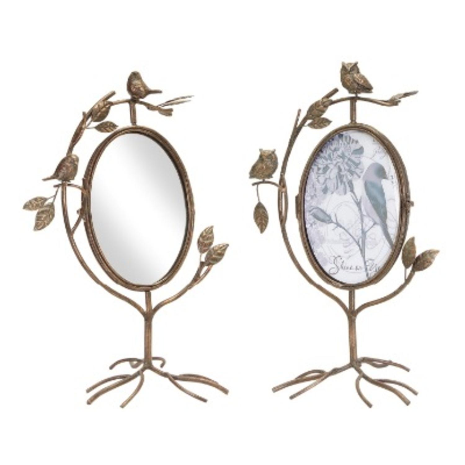 Pack of 2 Antique-Style Bronze Birds and Owls Swivel Mirror and Photo Frame 16.5""