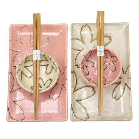 Sushi Dishware - Ebros Gift Japanese Sakura Cherry Blossom Porcelain Sushi Dinnerware 6 Piece Set 2 Each Of Dinner Plates Dipping Soy Sauce Bowls And Bamboo Chopsticks Pair Gift Ideas (Pink And Beige Pair)