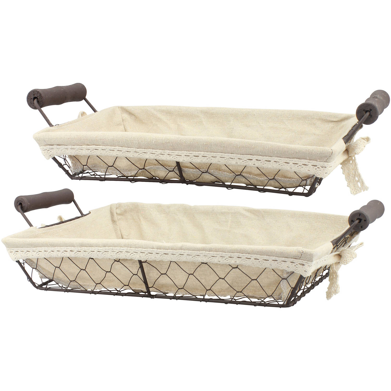 Set of 2 Rectangular Wire Baskets with Fabric