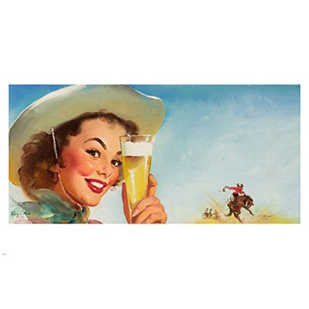 Special Beer Ad 1953 Sexy Pin-Up Girl Vintage Poster 24X36 Cowboy Hat Rodeo