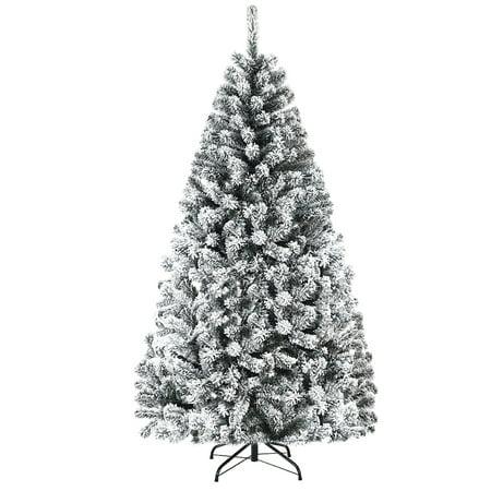 Costway 6ft Snow Flocked Hinged Artificial Christmas Tree Unlit Metal