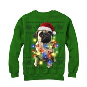 Lost Gods Ugly Christmas Sweater Pug Lights Mens Graphic Sweatshirt