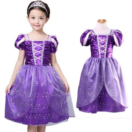 Little Girls Princess Rapunzel Dress Costume Kids Girls Princess Costume Fairytale Aurora Rapunzel Lace Party Birthday Dress (Kids Costume Party)