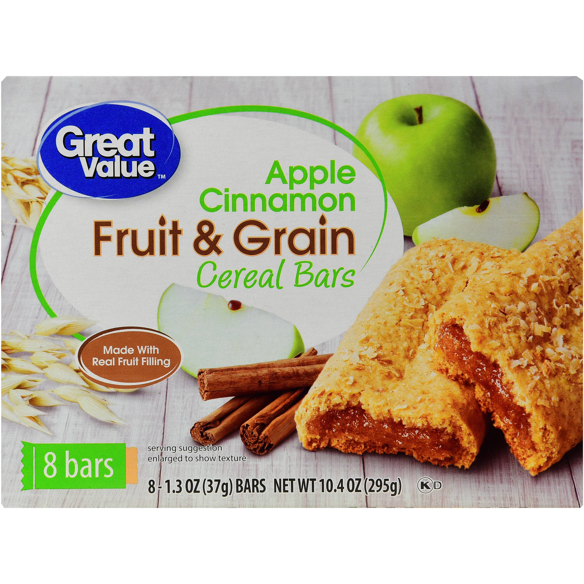 Great Value Apple Cinnamon Fruit & Grain Bars, 10.4 oz
