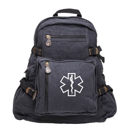 Star of Life Medical Logo Army Sport Heavyweight Canvas Backpack Bag