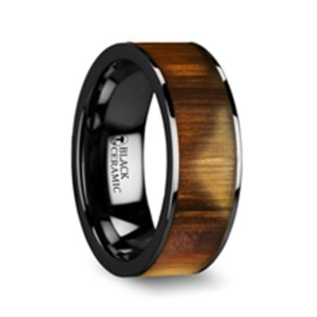 Martin Olive Wood Inlaid Flat Black Ceramic Ring With Polished Edges