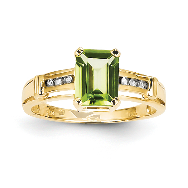 14K Yellow Gold Peridot and White Topaz Square Ring by Saris and Things QG