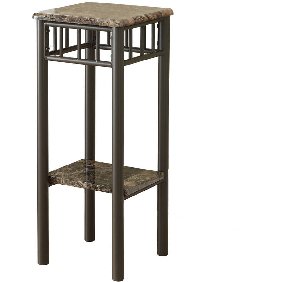 Monarch Accent Table Cappuccino Marble / Bronze Metal
