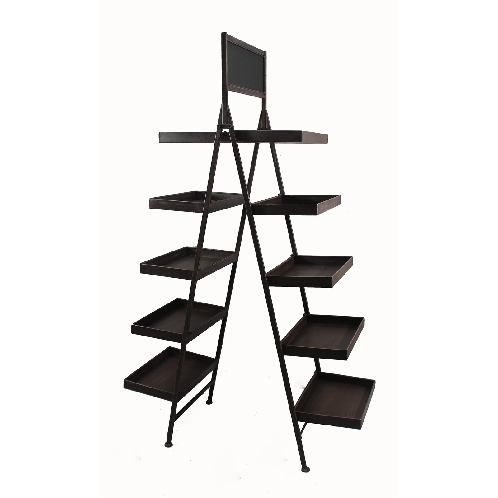Wald Import Metal 10 Shelf Tiered Plant Stand with Chalkboard
