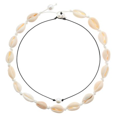 KABOER Women's Gift Shell Choker Hawaiian Necklace Cowrie Pearls Choker Beads Necklace Statement Adjustable Cord Necklace 2 Pcs/Set Beaded Shell Cross